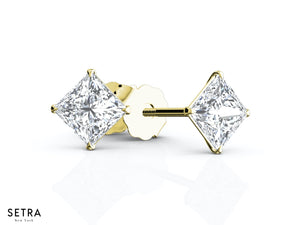 1.00ct Princess Cut Diamonds Studs Earrings Eagle Prong Setting Fine 14k Gold