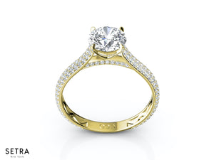 MICRO-PAVE DIAMOND ENGAGEMENT RING 14K GOLD