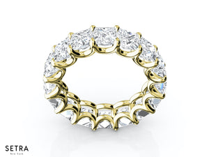 PRINCESS CUT DIAMONDS ETERNITY WEDDING BAND RINGS 14K YELLOW GOLD