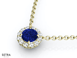 NECKLACES CENTER OF MY LIFE DIAMOND & SAPPHIRE 14K FINE ROSE GOLD