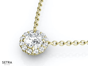 NECKLACES CENTER OF MY LIFE DIAMOND VINTAGE STYLE 18K FINE YELLOW GOLD