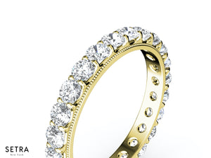 18K FINE GOLD ETERNITY WEDDING BAND RING ROUND CUT DIAMOND