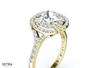 MICRO-PAVE DIAMOND ENGAGEMENT RINGS DOUBLE ROW HALO 14K GOLD RING