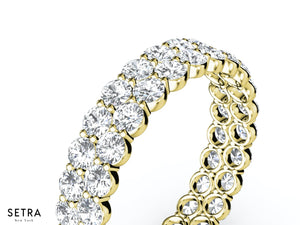 DOUBLE ROW ETERNITY BAND 14K GOLD ROUND CUT DIAMOND RING