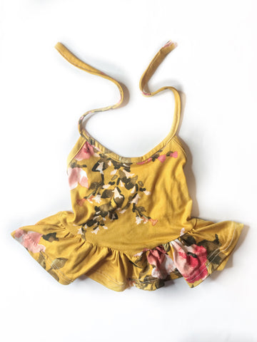 12/18 - Mustard Floral (sold out print) - Halter Peplum