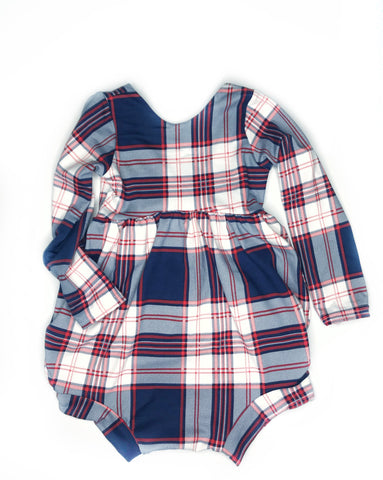 Navy Plaid Bubble - 2T