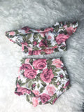 Floral Off The Shoulder Crop + Bummies