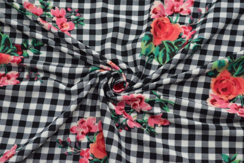 Quincy Floral on Black Gingham