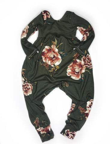 Olive Floral Romper - 6-12 months ready to ship - last one!