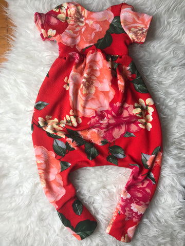 Red Floral - Romper - 18 months