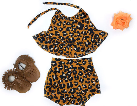 Leopard Halter Top Set