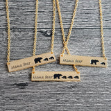 Mama Bear and Cubs Personalized Engraved Bar Necklace