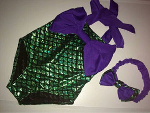 Toddler Mermaid bathing suit with matching Headband