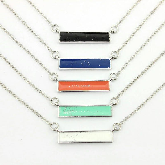 Silver Tone Enamel Glitter Bar Necklace