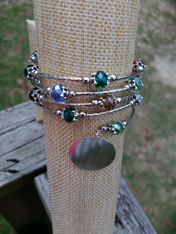 Silver Multi Color abacus Bead Wrap Bracelet