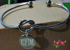 Silver Knot Bangle with Blank