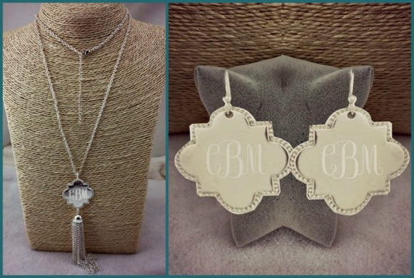 Silver Tassle Quatrefoil Necklace/Earring Set