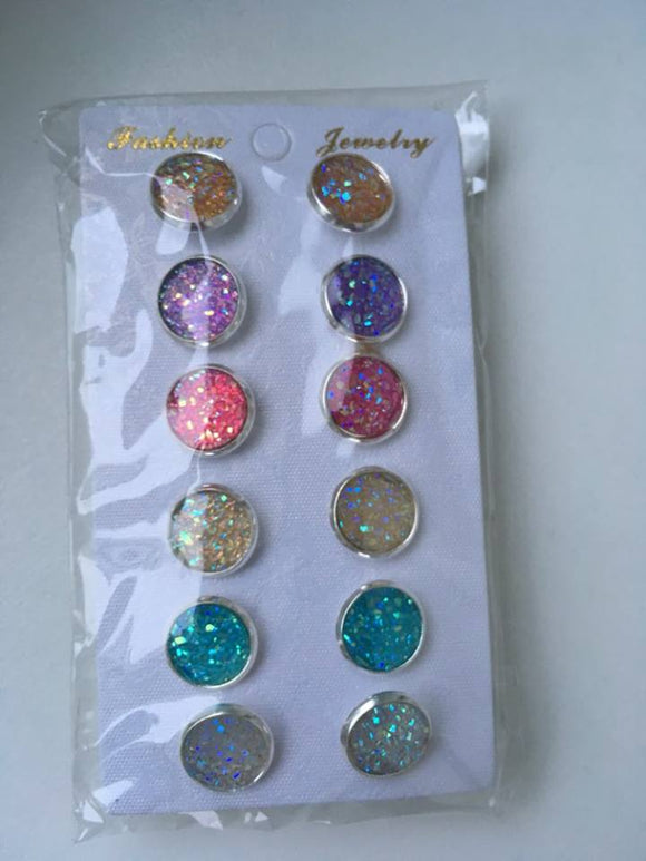 6pk 12mm Druzy Earrings