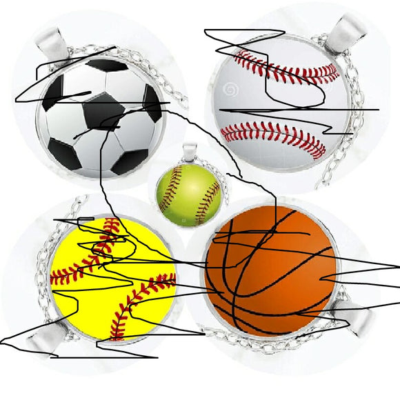 Glass Cabochon Sport Softball Necklace