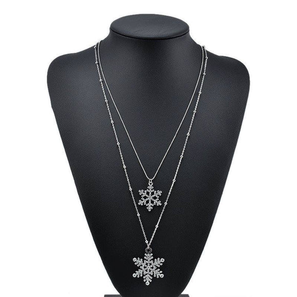 Silver Double Strand Snowflake Necklace