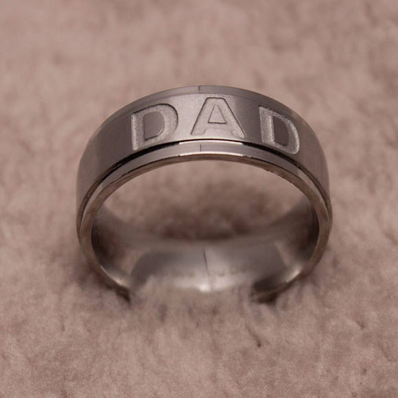 Stainless Steel Engraved DAD Men's Ring