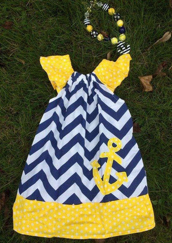 Toddler Blue/White Chevron dress with Anchor