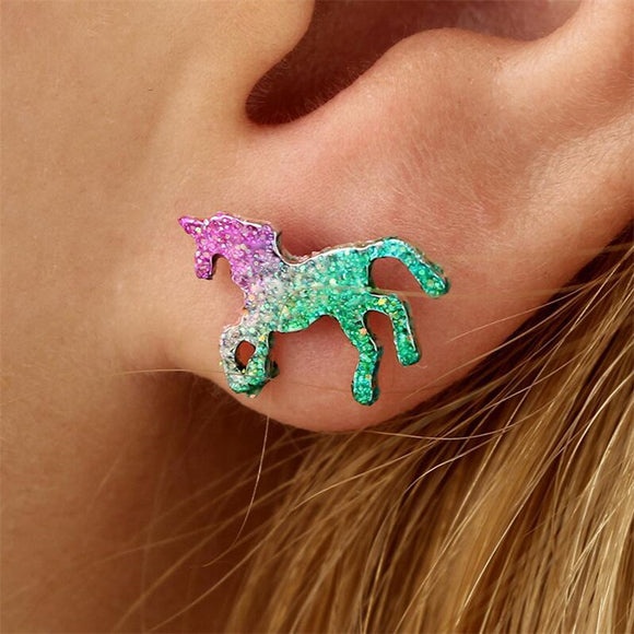 Glitter Unicorn Stud Earrings