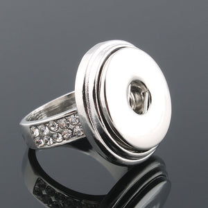 Elegant Crystal Snap Button Ring