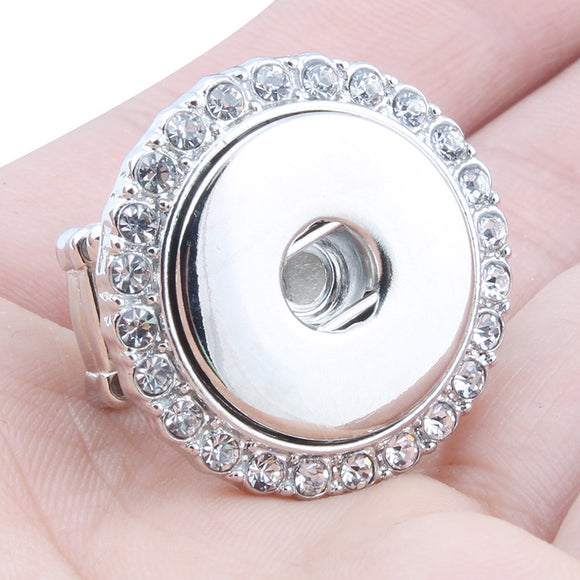 Rhinestone Stretch Snap Button Ring