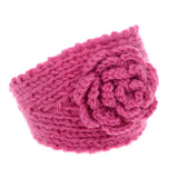 Pink Knitted Head Wrap with Flower