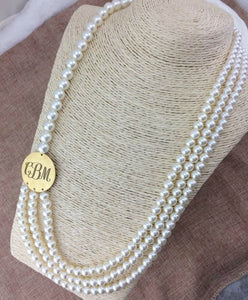 Chunky Multi-Strand Pearl Necklace with Blank