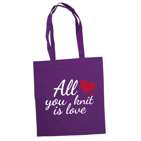 All you knit is love handlenett lilla