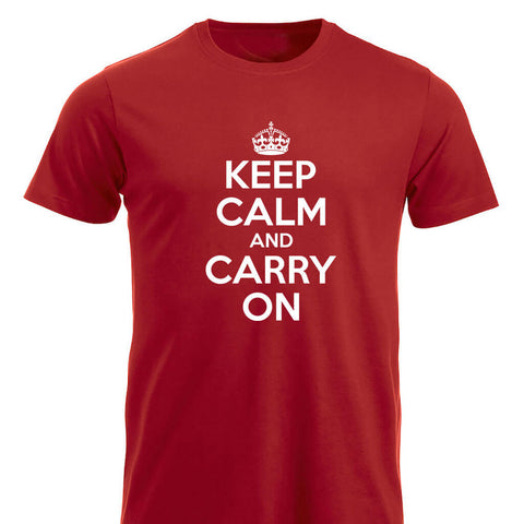 Keep Calm and Carry On klassisk t-skjorte rød