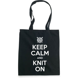 Keep Calm and Knit On handlenett sort