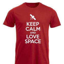 Keep Calm and Love Space klassisk t-skjorte rød