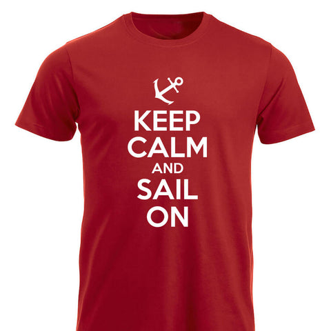Keep Calm and Sail On klassisk t-skjorte rød