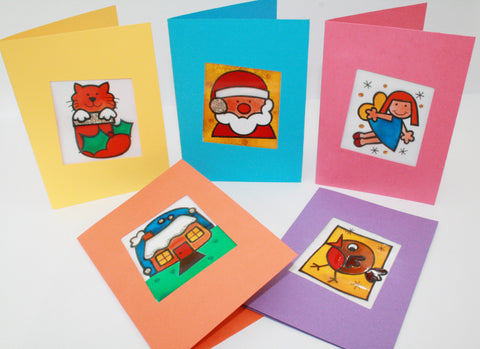 Glass Painted Christmas Cards
