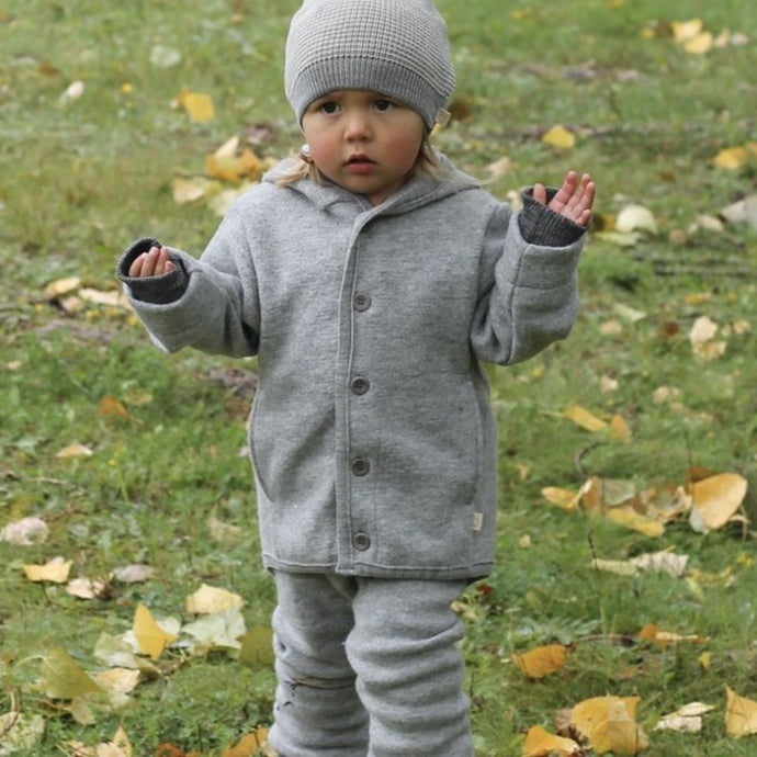 Disana Toddler Hooded Jacket with knitted  cuffs, Organic Merino Boiled Wool