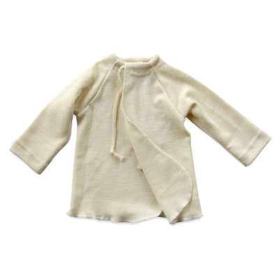 Engel Baby Wrap-Over Long Sleeved Sweater, Wool Silk, Natural