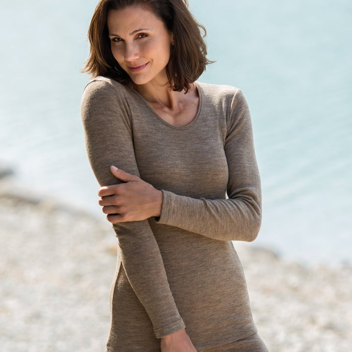 Women's organic merino wool clothing, Long Sleeved Shirt - Walnut