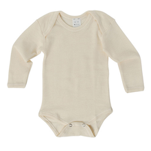 Hocosa Baby Onesie Long Sleeve, Wool/Silk, Natural