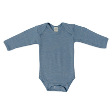 Hocosa Baby Onesie Long Sleeve Wool/Silk, Blue Jean