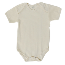 Hocosa Baby Onesie Short Sleeve, Wool/Silk, Natural