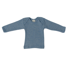 Hocosa Baby Shirt Long Sleeve Wool/Silk, Blue Jean