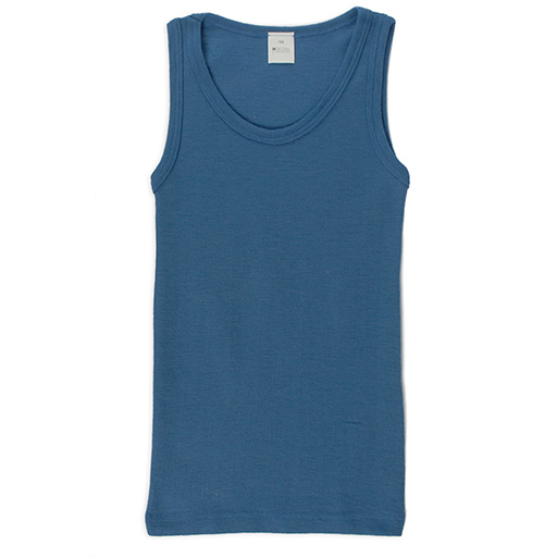 sleeveless shirt merino wool ocean blue - warmth and weather