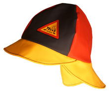 Abeko/Tells Child Rain Hat Lined, tri-colour, navy, red &yellow