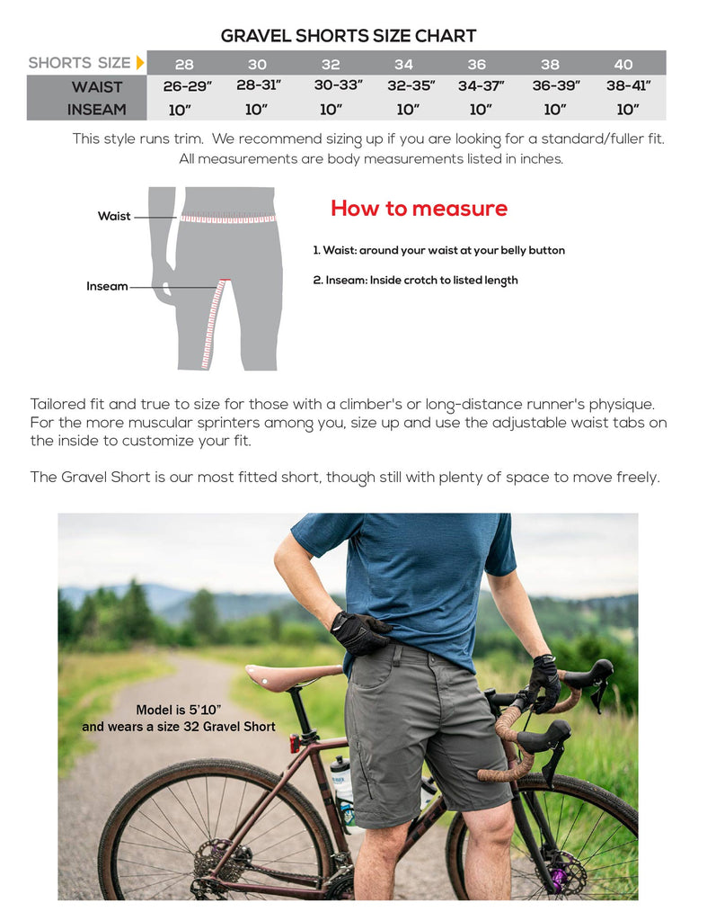 showers pass men's gravel short size guide