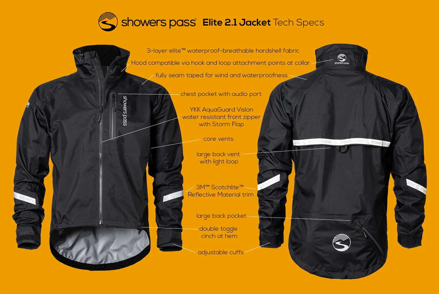Showers Pass Elite 2.1 Black Waterproof Cycling Jacket tech specs