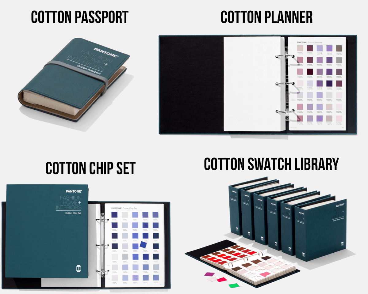 4 of the cotton books from Pantone including the passport, planner, chip set, and swatch library