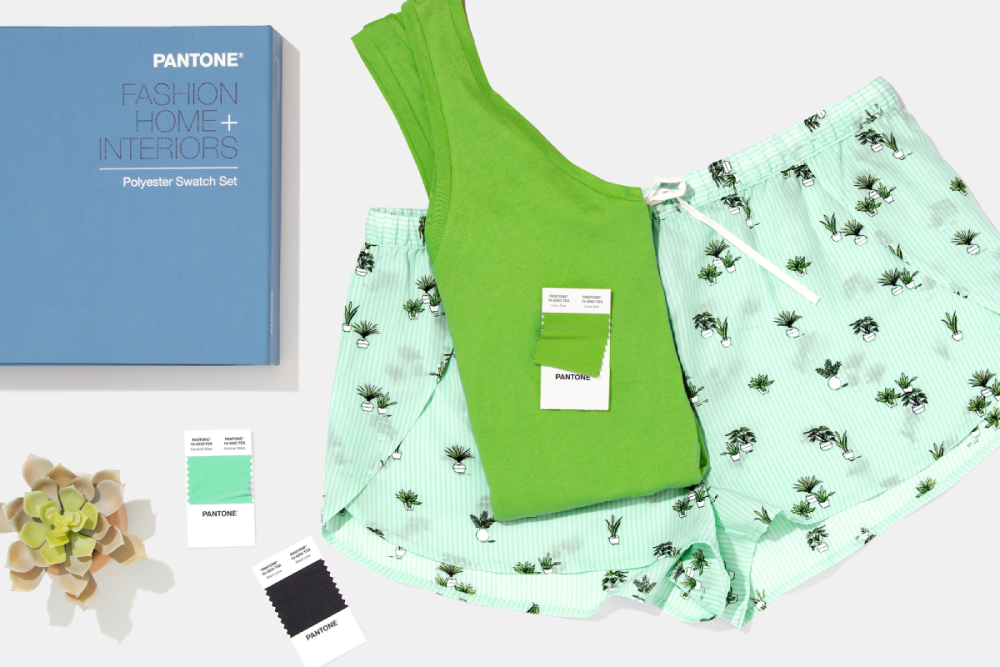 Polyester Swatch Set with green tank top and shorts